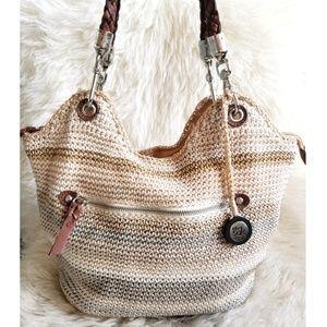 The Sak Large Tan Grey Cream Crochet Boho Bag